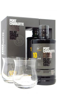 Port Charlotte - Heavily Peated 2 x Glasses Gift Pack 10 year old Whisky