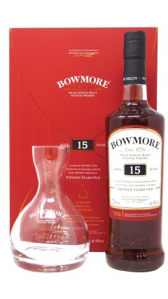 Bowmore - Glass Decanter Gift Pack 15 year old Whisky