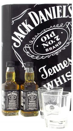 Jack Daniels - 2 x 5cl Miniatures + Shot Glasses in Metal Book Case Whiskey