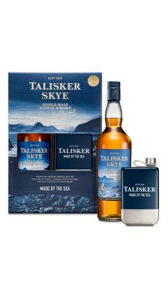 Talisker - Skye Single Malt + Branded Hip Flask Gift Pack Whisky