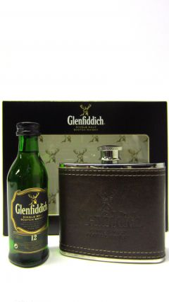 Glenfiddich - Miniature & Metal Hip Flask Gift Set 12 year old Whisky