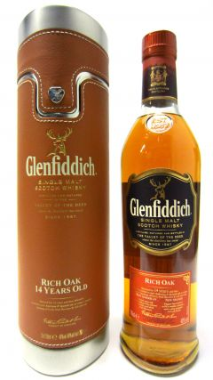 Glenfiddich - Rich Oak with Metal & Brown Leatherette Case 14 year old Whisky