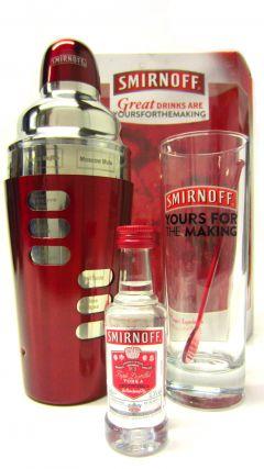 Vodka - Smirnoff Cocktail Shaker Gift Set With Vodka Miniature Whisky