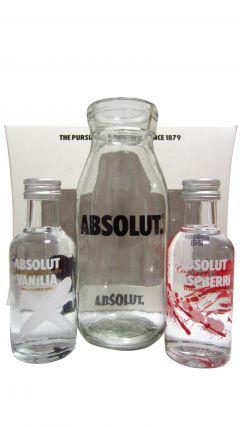 Vodka - Absolut 2 x 5cl Miniatures & Flaska Glass Gift Set Whisky