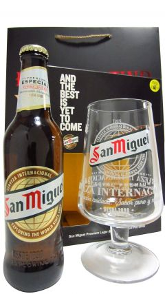 Beer / Lager / Cider - San Miguel Lager & Chalice Pin Glass Gift Set (Hard To Find Whisky Edition) Whisky
