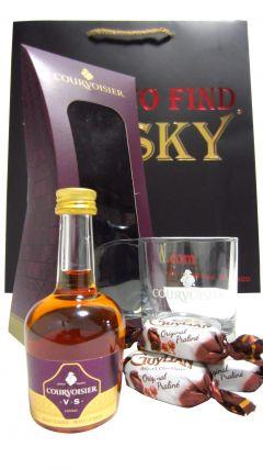 Cognac / Brandy - Courvoisier Miniaure, Tumler & Guylian Chocolates Gift Set (Hard To Find Whisky Edition) Whisky