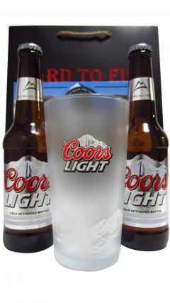 Beer / Lager / Cider - Coors Light 2 x Bottles & Chilling Pint Glass Gift Set (Hard To Find Whisky Edition) Whisky