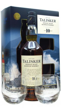 Talisker - Single Malt & 2 x Branded Glass Tumblers Gift Set 10 year old Whisky