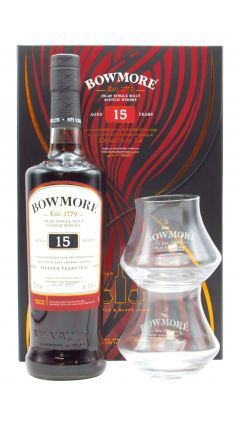 Bowmore - Gift Pack - 2 x Branded Glasses &  15 year old Whisky