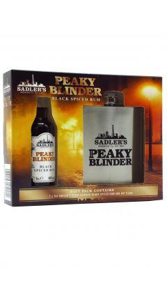 Peaky Blinders - Hip Flask Gift Pack w/ Miniature Black Spiced Rum